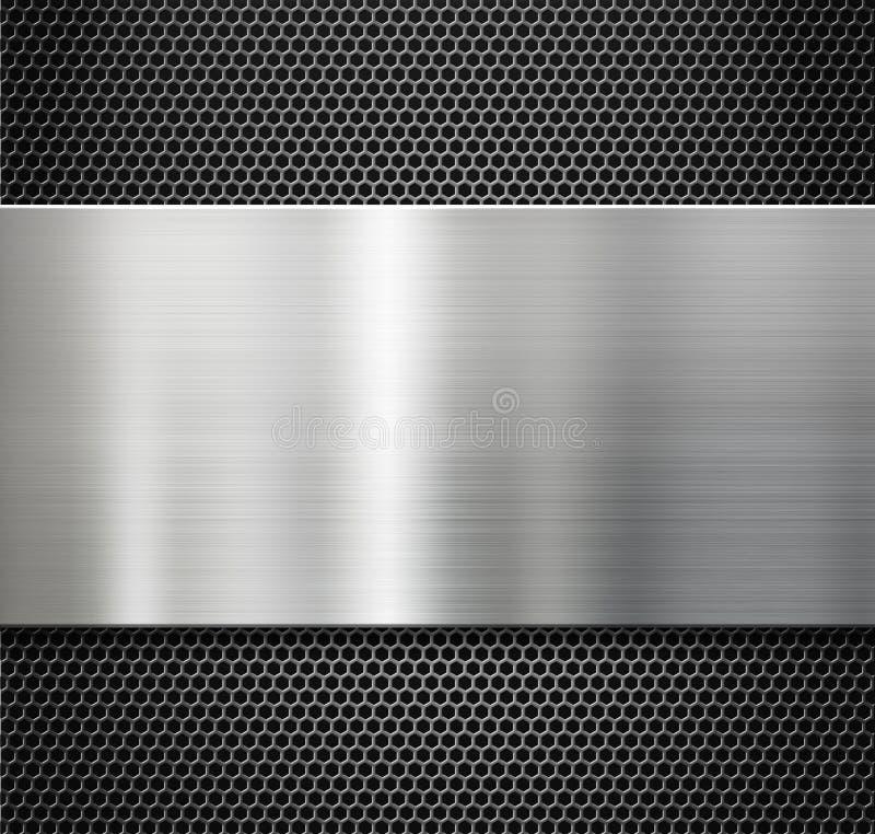 Стальная металлическая пластина над предпосылкой решетки гребня иллюстрация вектора