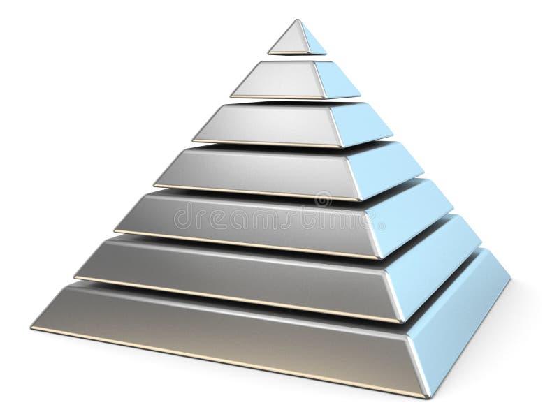 Стальная пирамида с 7 уровнями 3d иллюстрация вектора