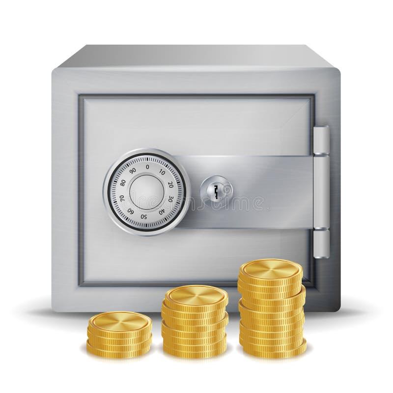 Стальной безопасный вектор концепции безопасностью Сейф металла, монетки и стога банкнот денег изолировали иллюстрацию профинанси иллюстрация штока