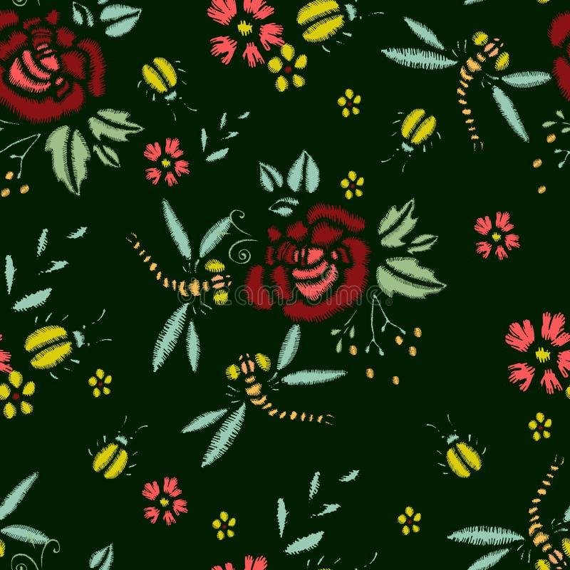 Стежки вышивки с розами, цветками луга, Dragonflies, жуками Картина моды вектора безшовная для ткани, ткани иллюстрация вектора