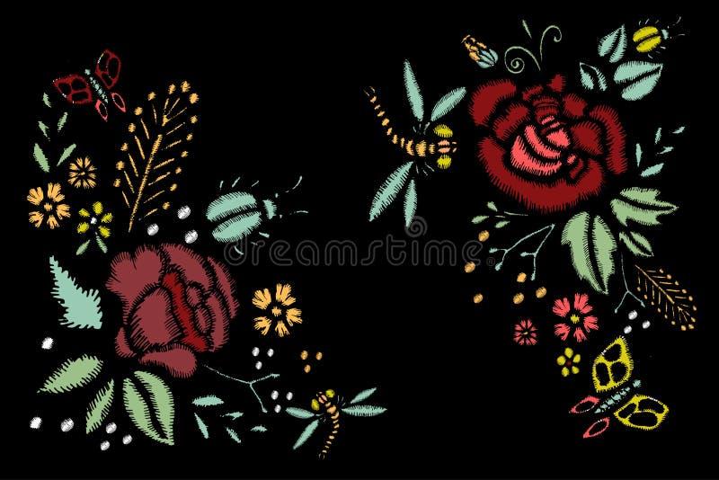 Стежки вышивки с розами, цветками луга, Dragonflies иллюстрация штока