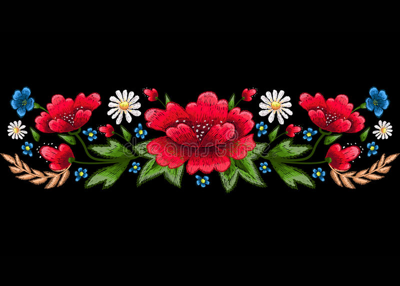 Стежки вышивки с цветками Vector орнамент вышитый модой для ткани, украшения ткани иллюстрация вектора
