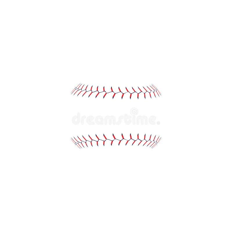 Стежки софтбола бейсбола красные или иллюстрация вектора шнурка изолированная на белизне иллюстрация вектора
