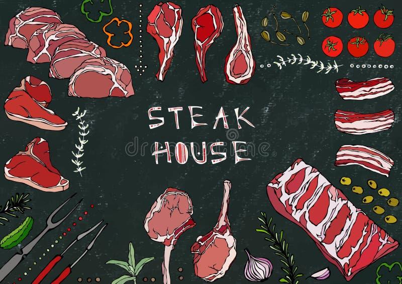 Стейкхаус Отрезки мяса - говядина, свинина, овечка, стейк, бескостный оковалок, жаркое нервюр, поясница и отбивные котлеты нервюр иллюстрация штока