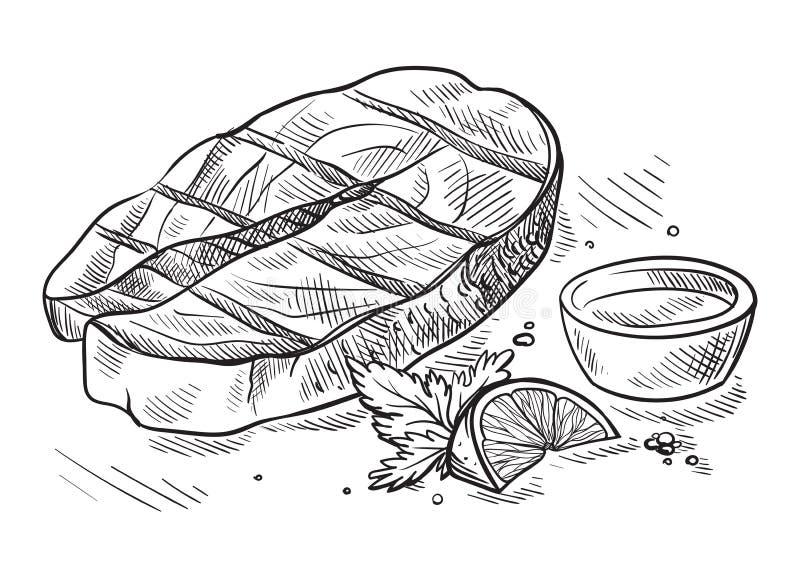 Стейк мяса при лимон и соус изолированные на белой предпосылке бесплатная иллюстрация