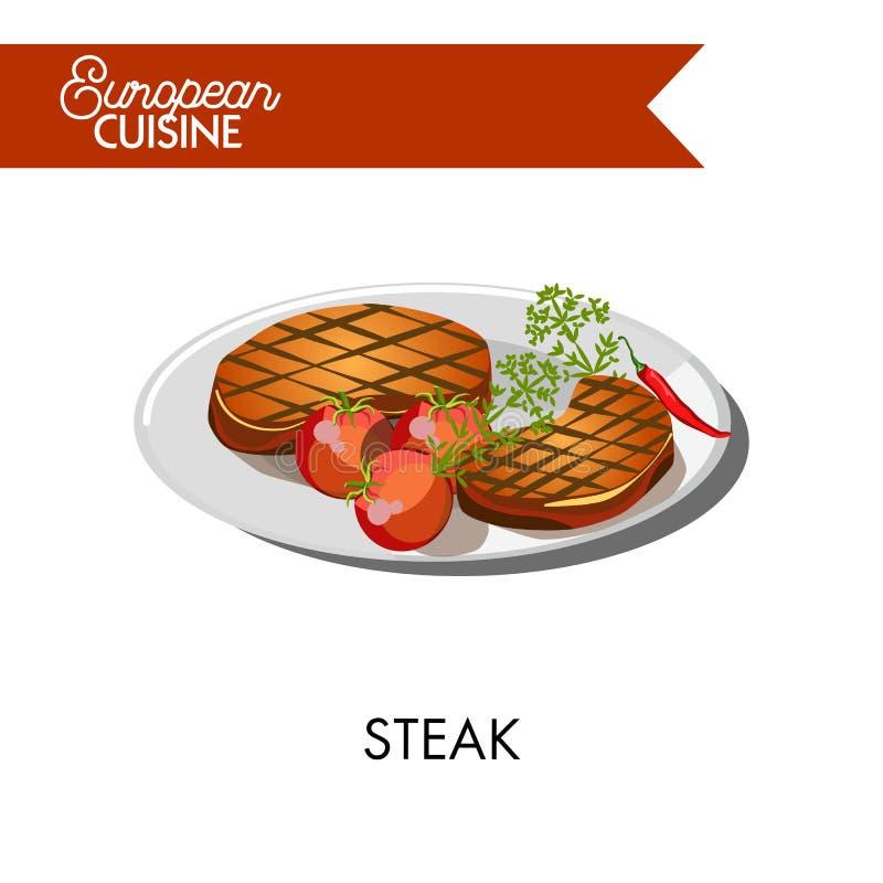 Стейк с томатами от европейской кухни изолировал иллюстрацию бесплатная иллюстрация
