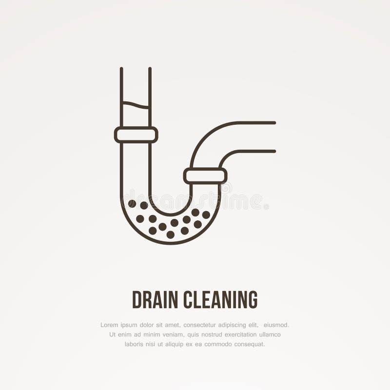 Стеките очищая плоскую линию значок Знак плана преграженной трубы водопровода Иллюстрация вектора для ремонта или обслуживания тр иллюстрация штока