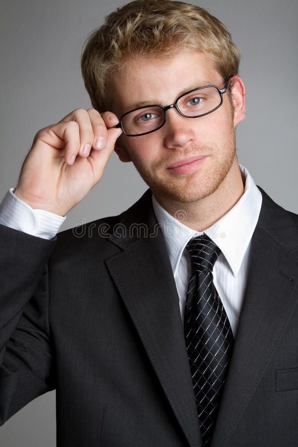Стекла бизнесмена нося стоковое фото rf