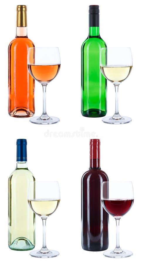 Стекла бутылок вина пробуя красный isol формата портрета белой розы стоковое изображение rf