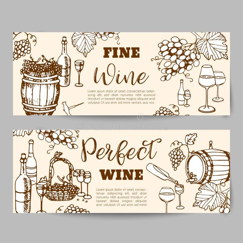 стекла бутылок установили белое вино 7 6 Продукты виноделия в стиле эскиза Установленные алкогольные напитки нарисованные рукой И иллюстрация вектора