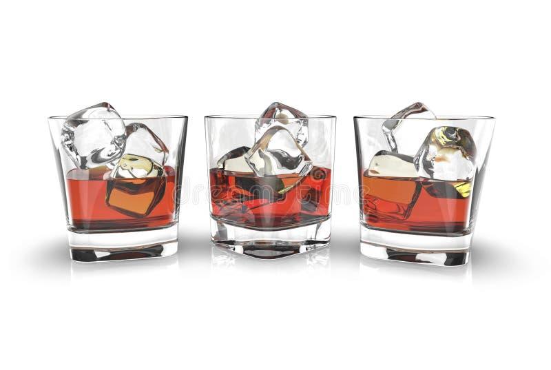 3 стекла вискиа при кубы льда изолированные на белой предпосылке иллюстрация вектора
