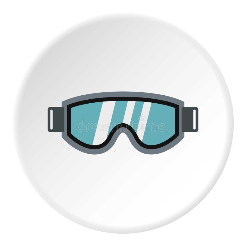 Стекла для значка сноубординга, плоского стиля иллюстрация штока