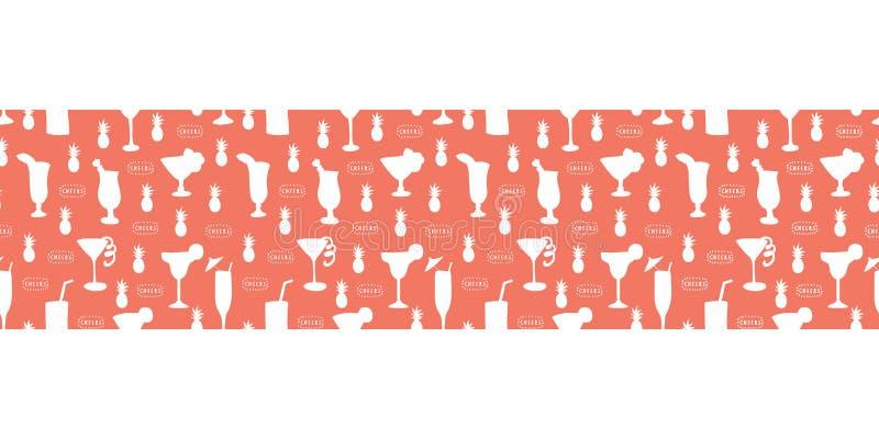 Стекла коктейля белые на красной безшовной границе вектора Выпивая стекла, ананасы, текст приветственных восклицаний Большой для  иллюстрация штока