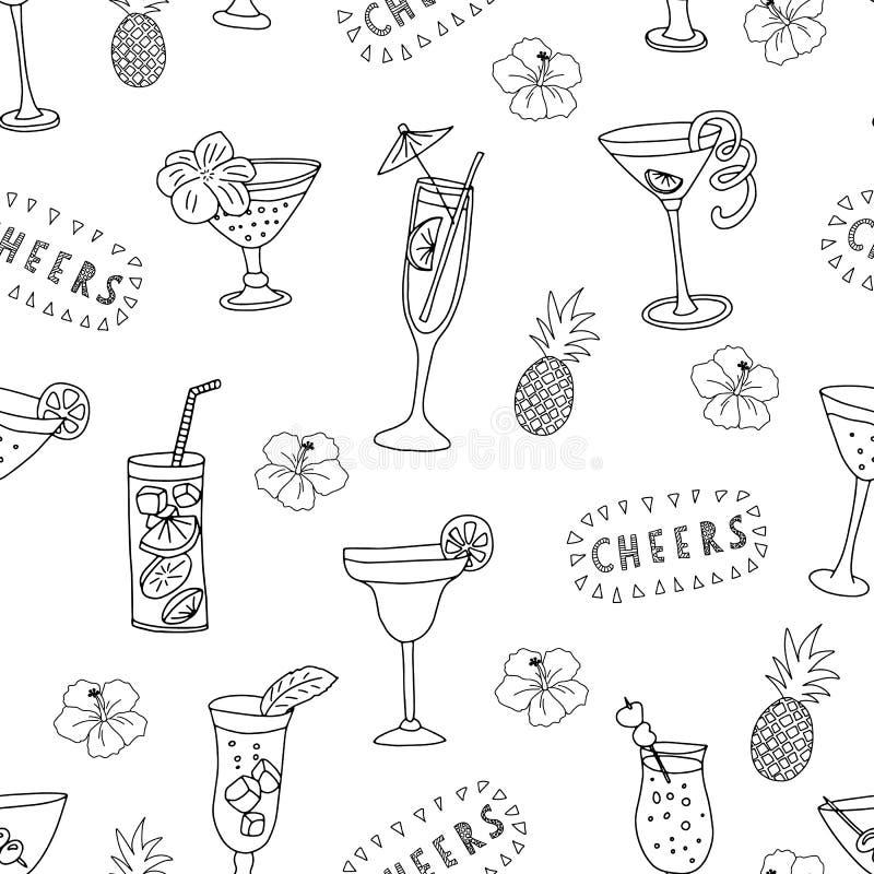 Стекла коктейля черные на белой предпосылке с помечать буквами приветственных восклицаний, ананасами, и цветками гибискуса Вектор бесплатная иллюстрация