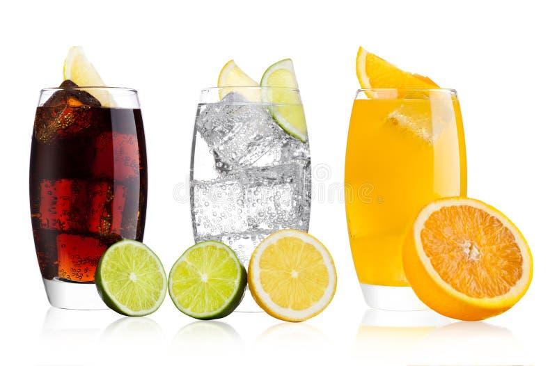 Стекла колы и напитка и лимонада оранжевой соды стоковое фото rf