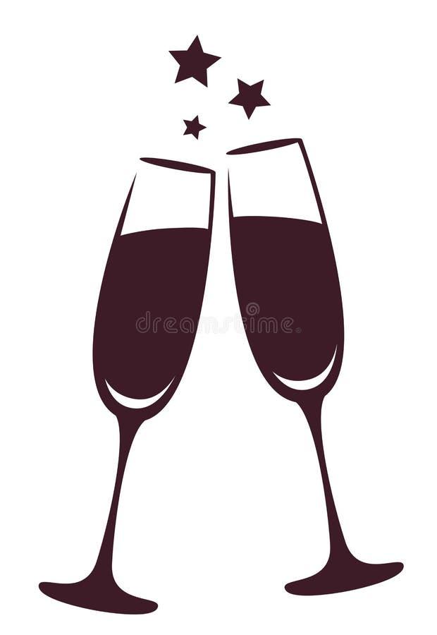 стекла обрамленные шампанским горизонтально сняли икона иллюстрация штока