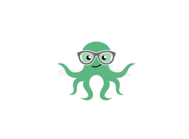 Стекла осьминога усмехаясь и нося или кальмар идиота для логотипа иллюстрация вектора