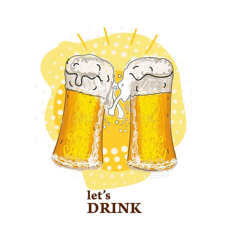 2 стекла пива провозглашать создавая выплеск Фестиваль пива белизна стекла пива изолированная иллюстрация вектора