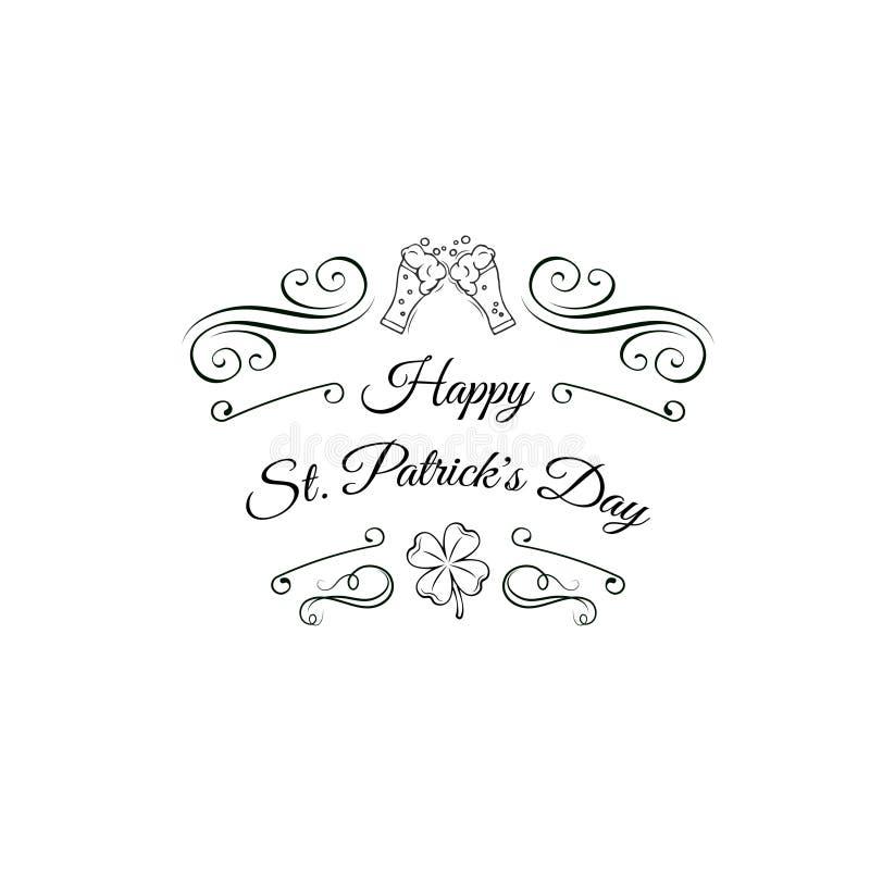 Стекла пива Clink День ` s St. Patrick с декоративными деталями и высказываниями бесплатная иллюстрация