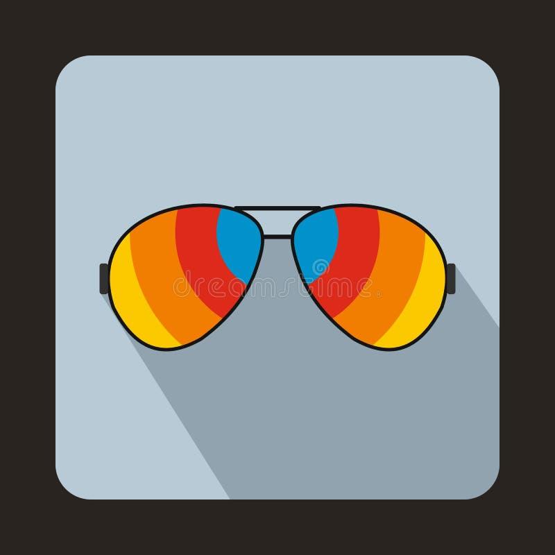 Стекла с значком объективов радуги, плоским стилем бесплатная иллюстрация