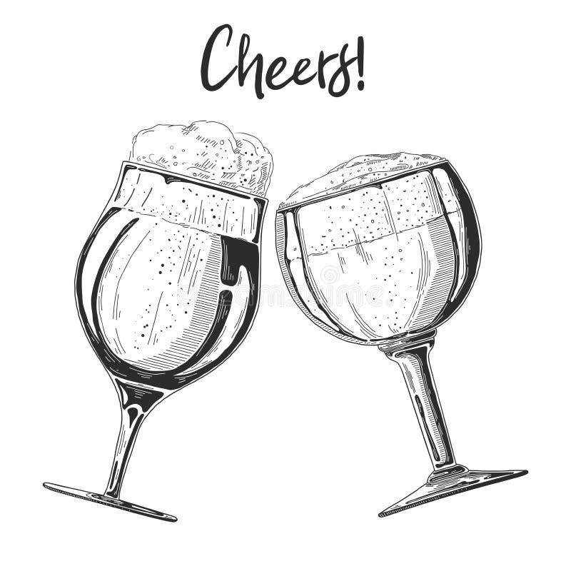 2 стекла с пивом на белой предпосылке Приветственные восклицания надписи также вектор иллюстрации притяжки corel бесплатная иллюстрация