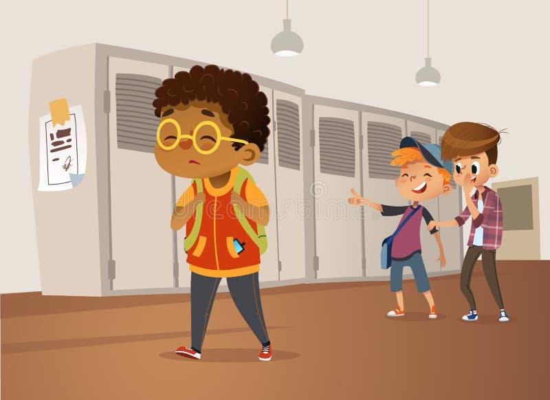 Стекла унылого полного Афро-американского мальчика нося идя через школу Школьники и жабра смеясь над и указывая на иллюстрация штока