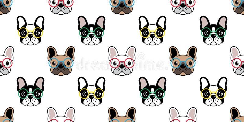 Стекла французского бульдога вектора картины собаки безшовные кроют обои черепицей повторения предпосылки изолированные шарфом бесплатная иллюстрация