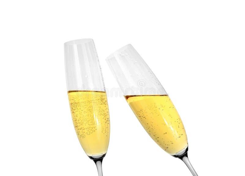 Стекла шампанского на белой предпосылке стоковые изображения