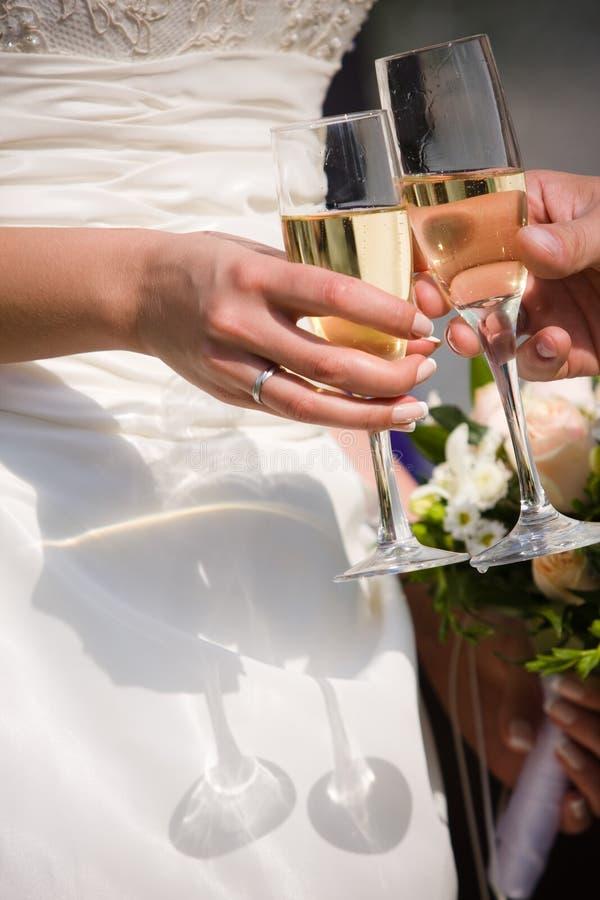 стекла шампанского wedding стоковое фото