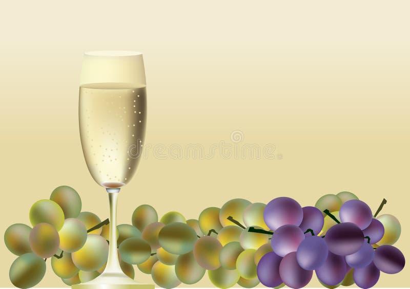 Стекло вина и виноградин иллюстрация вектора