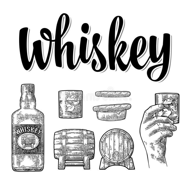 Стекло вискиа с кубами льда, бочонком, бутылкой и сигарой иллюстрация штока