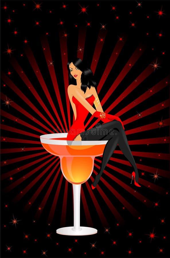 стекло девушки коктеила сидит бесплатная иллюстрация