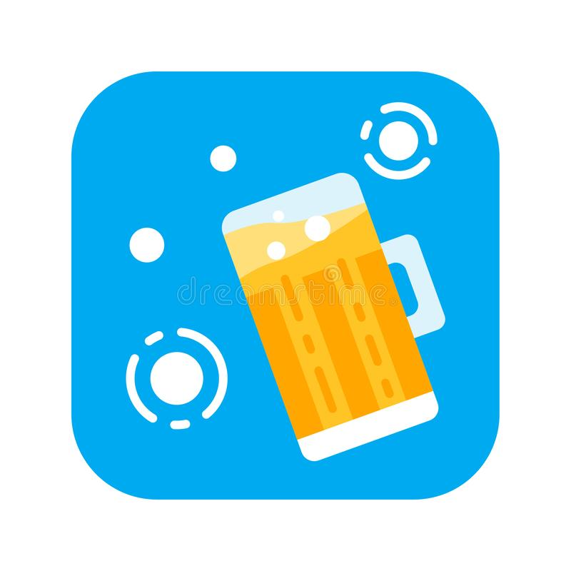 Стекло значка цвета пива плоского Oncept  спиртных продуктов Ñ Clipart вектора, иллюстрация, шаблон иллюстрация вектора