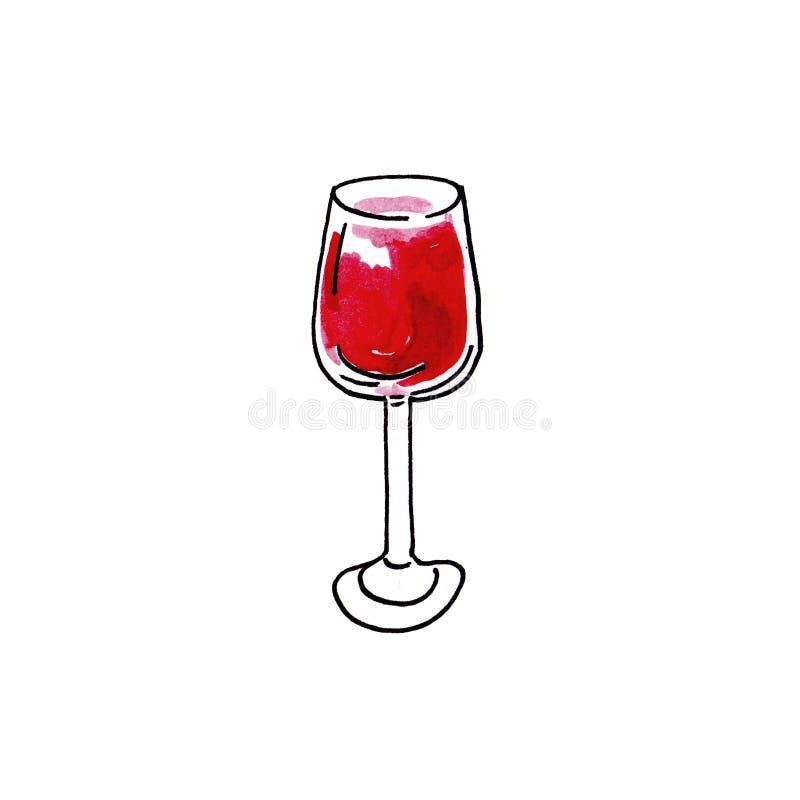 Стекло иллюстрации руки акварели вычерченное красного вина на белой предпосылке иллюстрация вектора