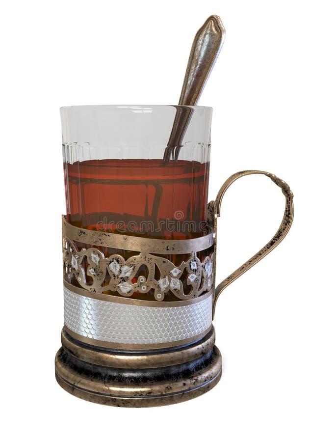 стекло иллюстрации 3d чая в держателе чашки стоковая фотография rf