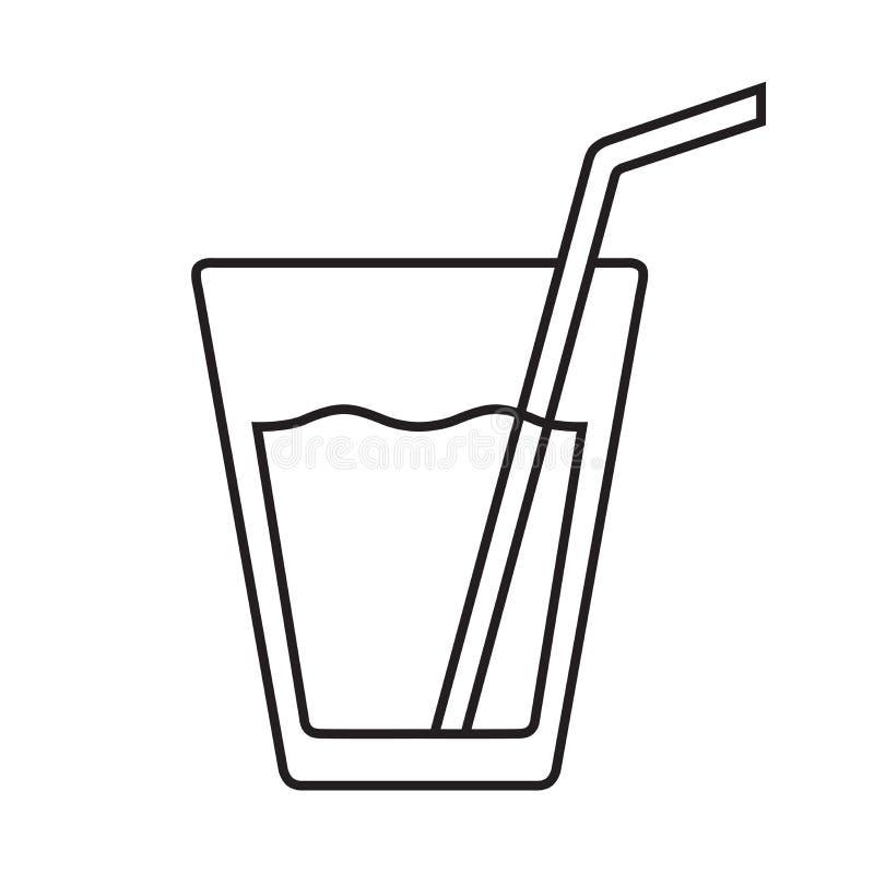 Стекло квартиры вектора воды изолированной с соломой бесплатная иллюстрация