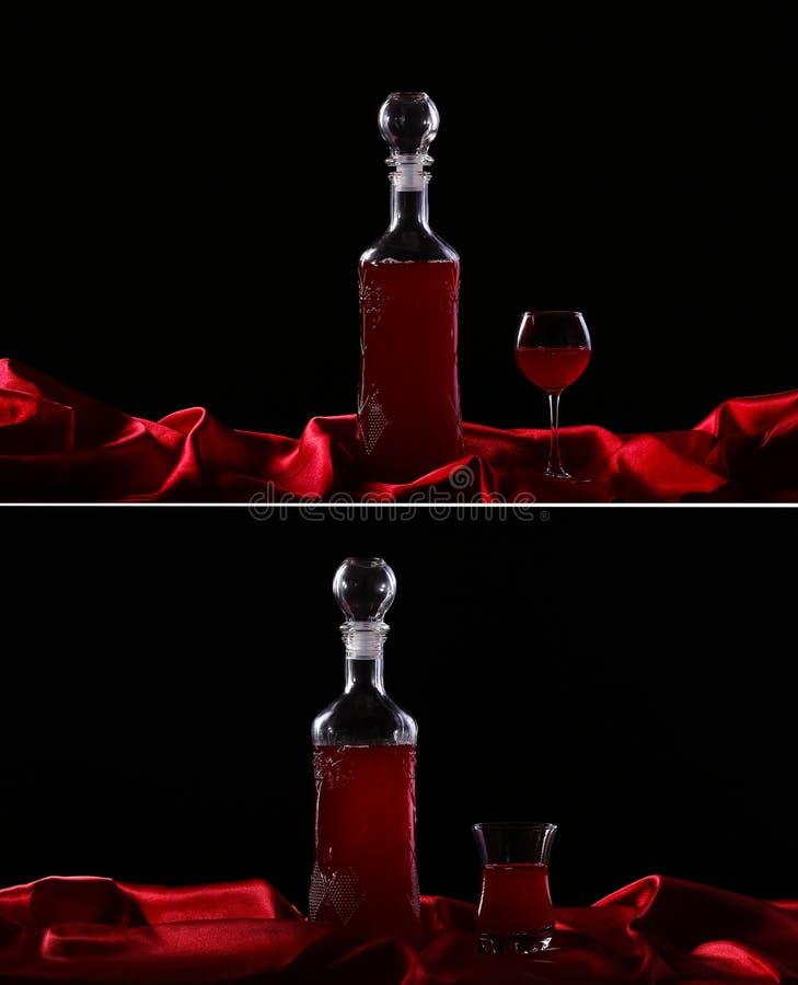 стекло коллажа и бутылка вина на темноте стоковое фото