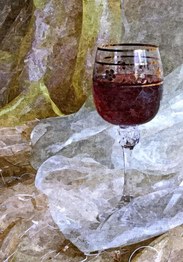 Стекло молодого вина Натюрморт Крася влажная акварель на бумаге Наивнонатуралистическое искусство Акварель чертежа на бумаге стоковое изображение