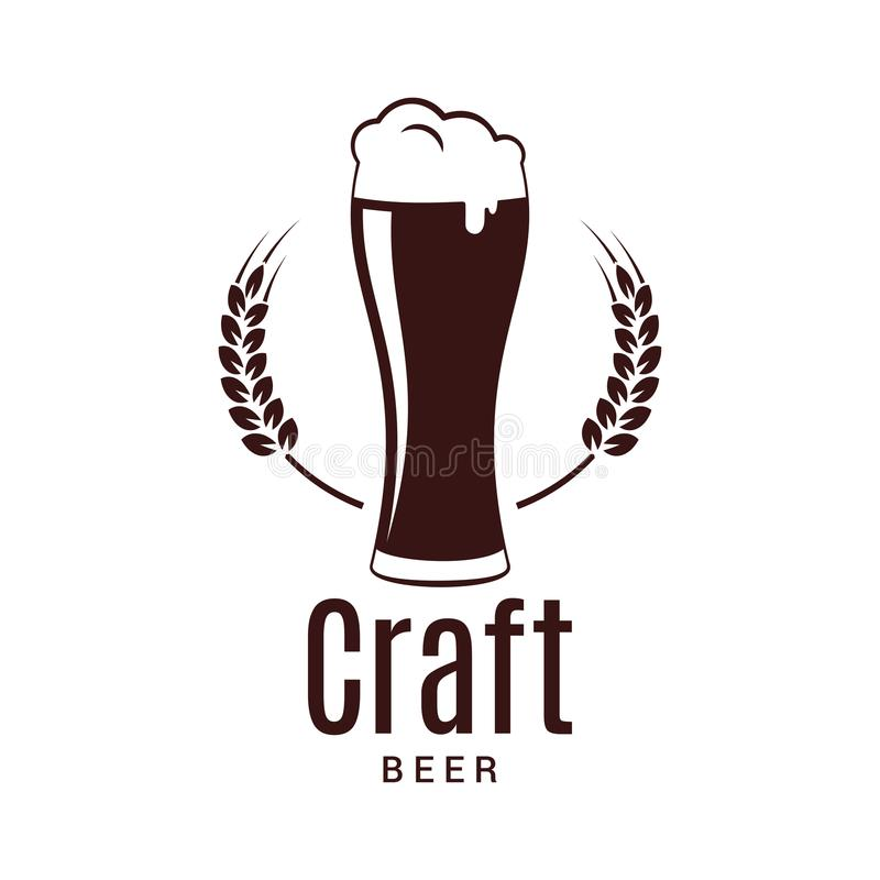 Стекло пива с логотипом пшеницы Дизайн винзавода ремесла на белой предпосылке бесплатная иллюстрация