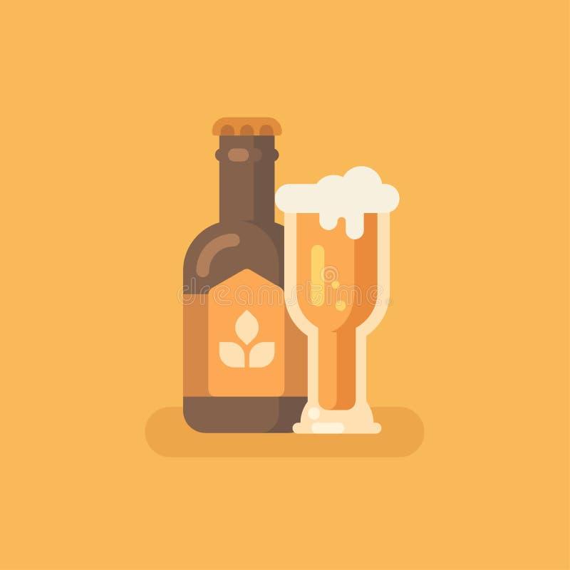 Стекло пивной бутылки и пива на оранжевой предпосылке иллюстрация вектора