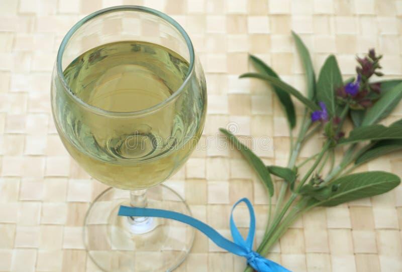 Стекло полное здорового напитка сделанного из среднеземноморского ароматичного шалфея завода стоковые фото