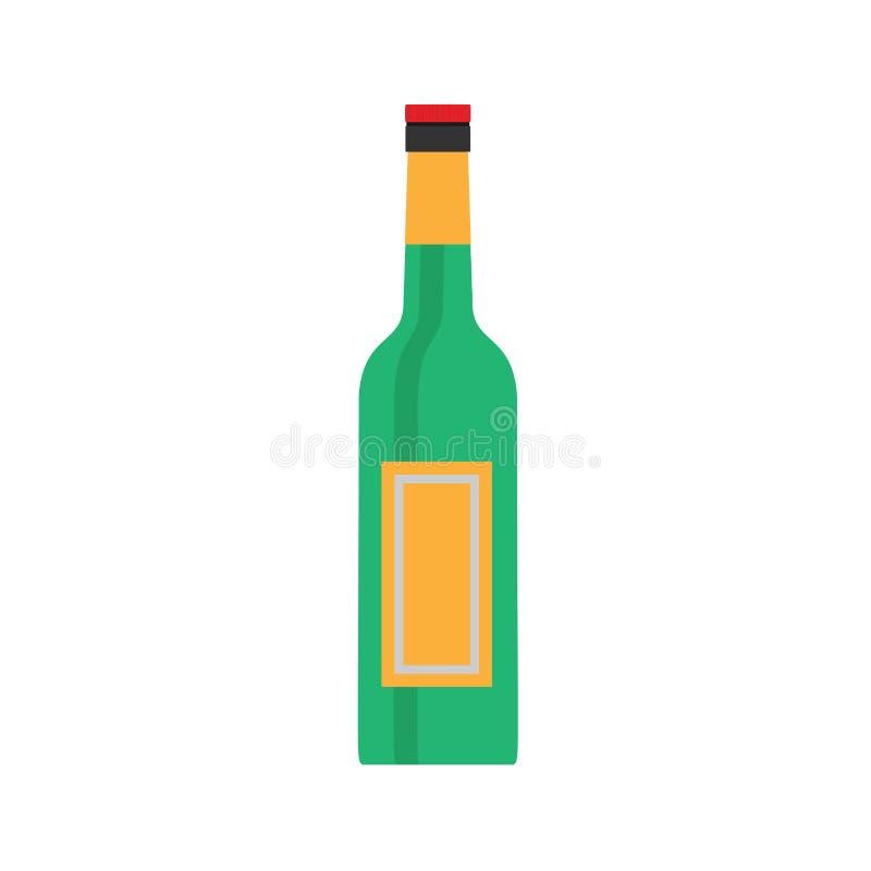 Стекло символа вектора зеленого цвета пивной бутылки Вид спереди значка алкоголя еды плоский бесплатная иллюстрация