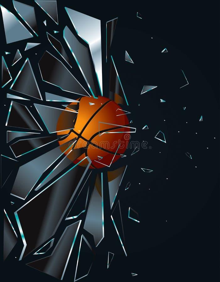 стекло сломанное баскетболом иллюстрация штока