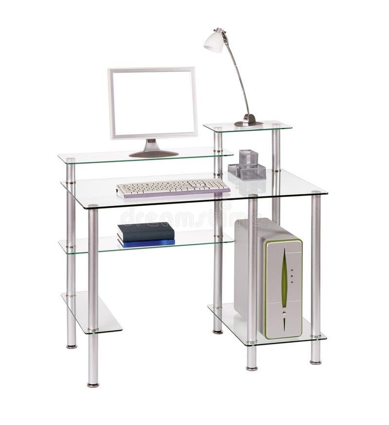 стекло стола компьютера стоковые фотографии rf