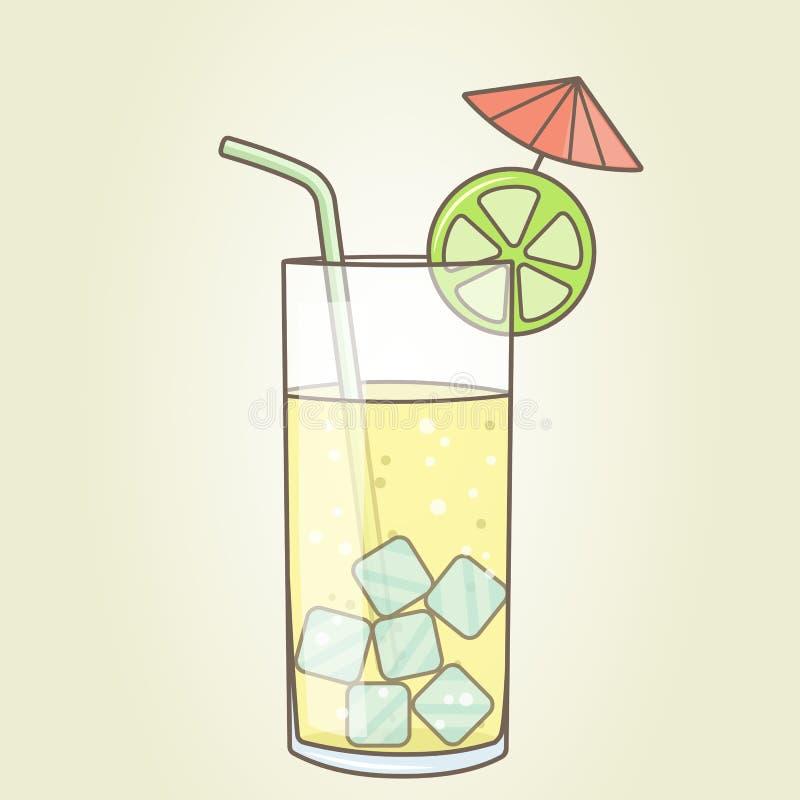 Стекло с куском коктеиля лимона с зонтиком и соломой Плоский вектор стоковое фото