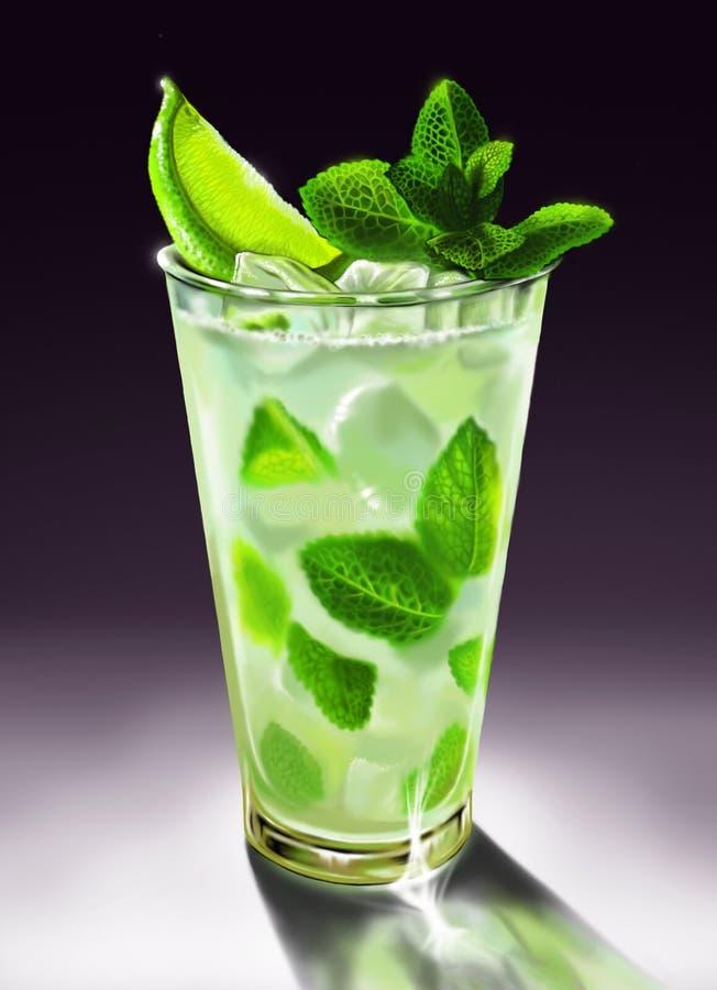 Стекло с лимоном, мятой, льдом, mojito коктеиля стоковая фотография