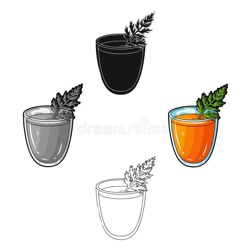 Стекло с оранжевым напитком и лист Здоровый вегетарианский сок моркови Вегетарианские блюда определяют значок в мультфильме, черн иллюстрация вектора