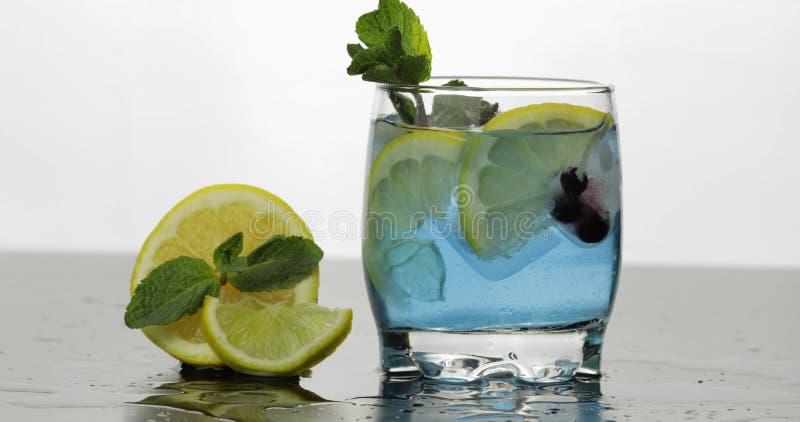 Стекло с холодным голубым напитком с листьями мяты, известки, лимона, черных смородин стоковые изображения