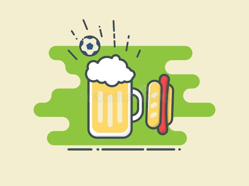 Стекло футбола/футбола пива и хот-дога на стилизованном зеленом поле с шариком бесплатная иллюстрация