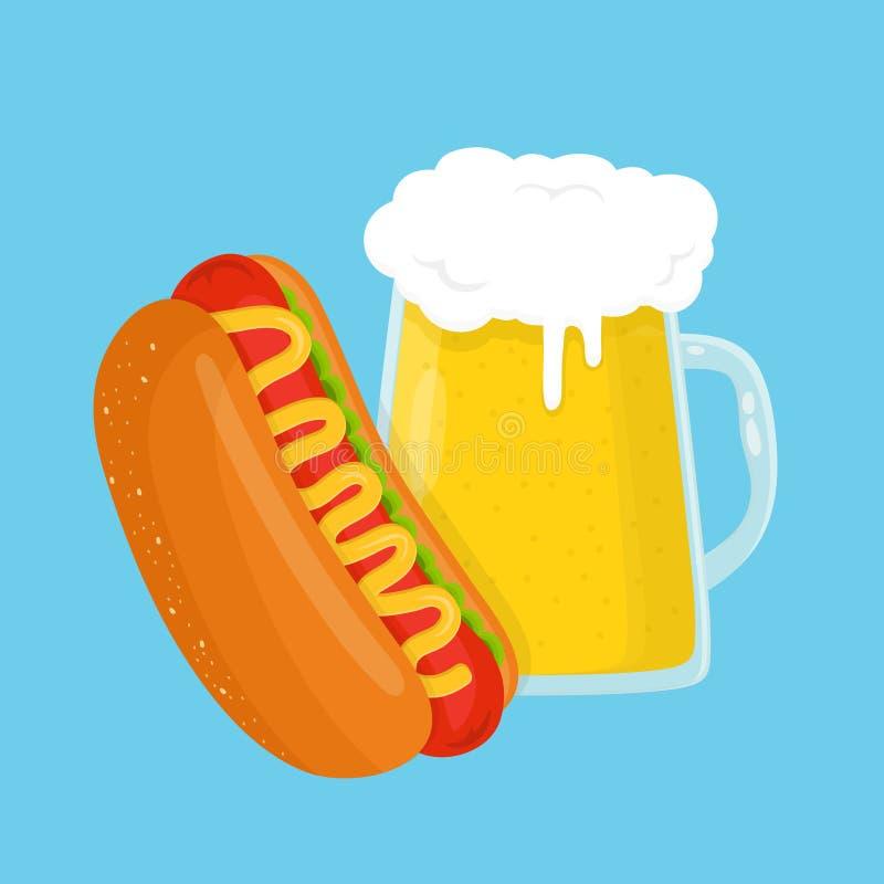 Стекло хот-дога и пива Шарж вектора плоский бесплатная иллюстрация